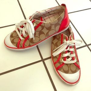 Tan and red authentic Coach tennis shoes (7)